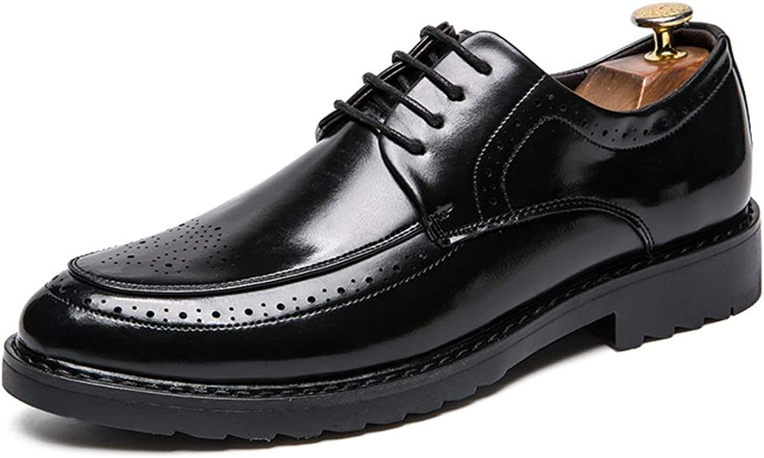 JIALUN-shoes Men's Fashion Business Oxford Casual Fashion Style Carving Low-top Patent Leather Leisure shoes
