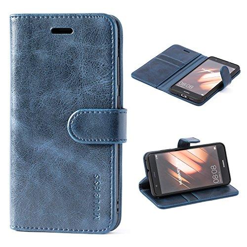 Mulbess Cover per Huawei P10 Lite, Custodia Pelle con Magnetica per Huawei P10 Lite [Vinatge Case], Blu Navy