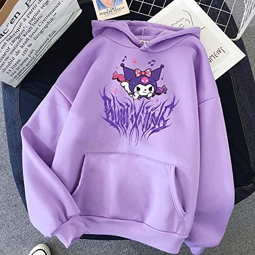 WPLHH Harajuku Cartoon Cute Funny Print Short Sleeve Kuromi Hoodie Top Herbst Street Wear O-Neck Sweet Girl Hoodie (Farbe: 15, Größe: M)