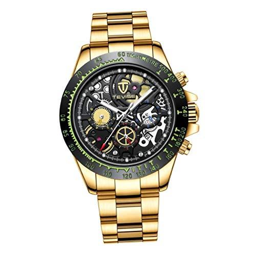 IPOTCH Herren Uhr Mechanische Automatikuhr Skelett Wasserdicht Edelstahl Armbanduhren, Schwarz Leuchtende Chronograph Analoge Uhren - Golden