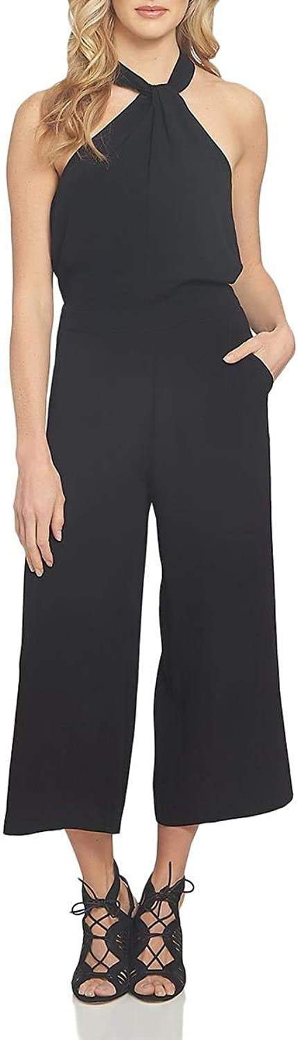 1.State Womens Cropped Wide Leg Jumpsuit Black 6