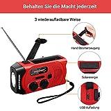 Outdoor Solar Radio, Multifunktion Tragbares Outdoor Radio Kurbelradio für Notfälle,mit AM/FM Wetter Radio, mit LED Taschenlampe/mit 2000mAh Eingebaute Batterie Power Bank, Notfall SOS Alarm - 3
