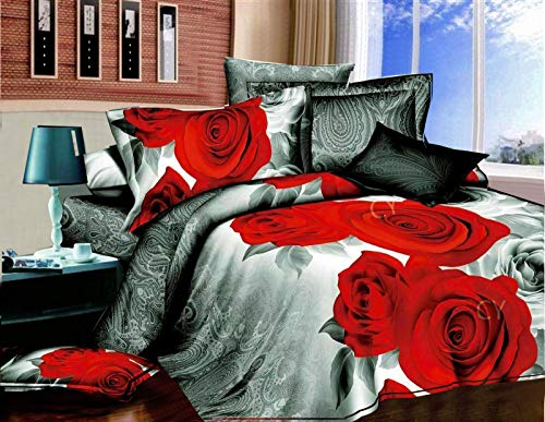Duvet Covers King Size Beds - Super Soft Anti-Allergy 4 Piece Include 3D Printed Duvet Covers Fitted Bed Sheet, 2 Pillow Case - All Season Bedding Kingsize Sets - Red Flower 275