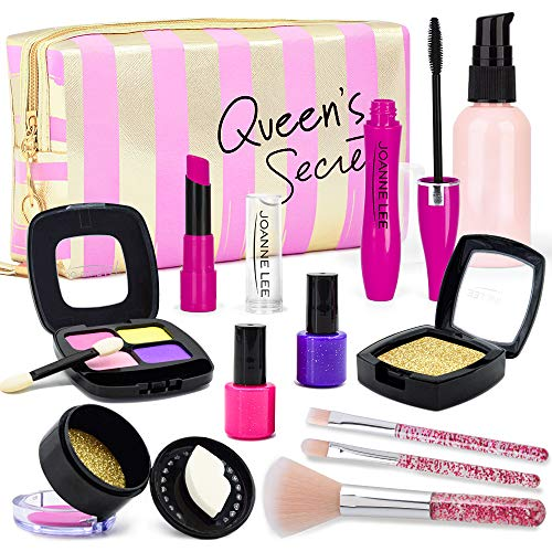 ORWINE Pretend Makeup for Girls, Kids Makeup Kit with Cosmetic Bag & Double Design Blush, Toddler Pretend Play Makeup Set for 3 4 5 6 7 Year Old Girls Birthday Xmas Gift (Not Real Makeup)