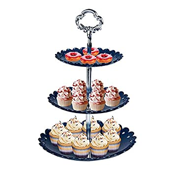 3 Tier Cupcake Stand Anytec Elegant Embossed Cupcake Fruit Snack Tower Tray Dessert Display Serving Stand for Wedding Home Birthday Tea Party Baby Shower  Navy