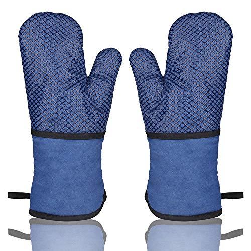 AYADA Ofenhandschuh Hitzebeständig Topfhandschuhe Topflappen Handschuh,BBQ Backofen Handschuhe,Grillhandschuhe Backhandschuhe Kochhandschuhe Anti-Rutsch Silikon Beschichtet Lang Oven Gloves (Blau)
