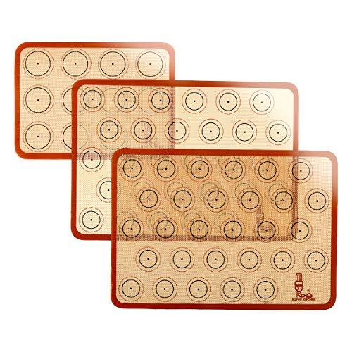 SUPER KITCHENマカロン クッキー シートクッキングマット 3枚セット 食品級シシリコン 製菓マット キッチン パン クッキー ピザ ベーキングマット オーブン 電子レンジ 対応 耐熱 プレースマット (レッド, 42x29.5cm、29.2×21.6cm)