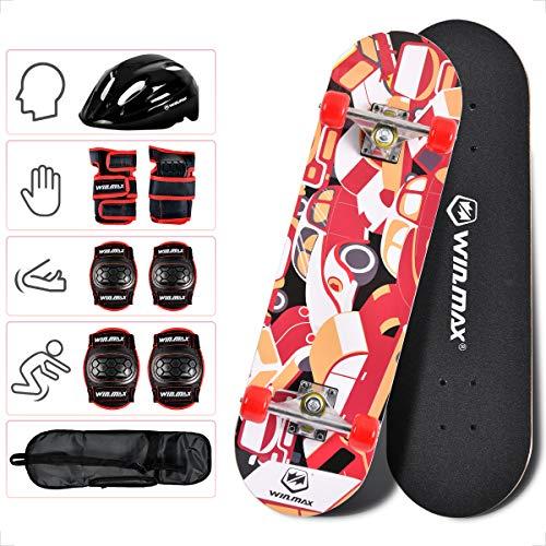 WIN.MAX Skateboard Komplettboard 70 x 20 cm für Kinder, ABEC-9 Kugellager 9-lagigem Ahornholz und 85A Rollen Cruiser Skateboard(RED)