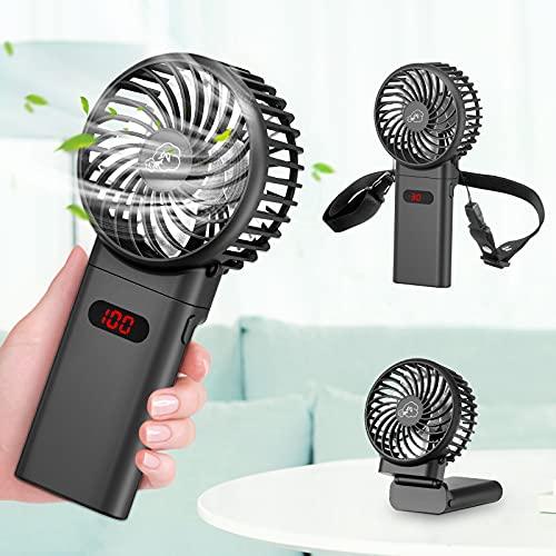 Handventilator Mini Ventilator, Faltbarer Wiederaufladbar Ventilator USB Tragbar Ventilatoren mit 4000mAh Aufladbarem Batterie für Reisen, Büro, Zuhause, Draußen, Innen