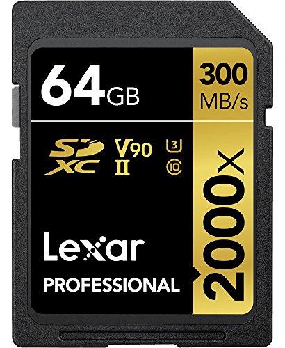 Lexar Professional 2000x 64GB SDXC UHS-II Speicherkarte ohne Lesegerät, Bis Zu 300MB/s Lesen (LSD2000064G-BNNAG)