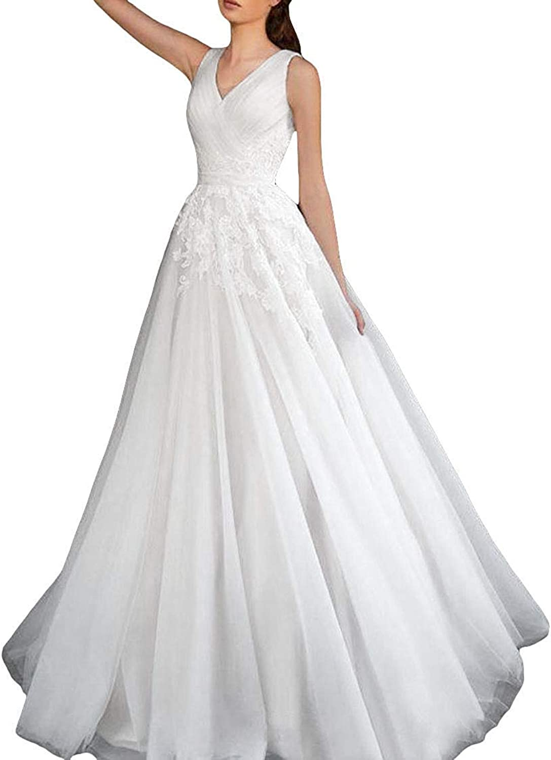 PearlBridal Women's V Neck Lace Applique Wedding Dresses Sleeveless Long Bridal Gown