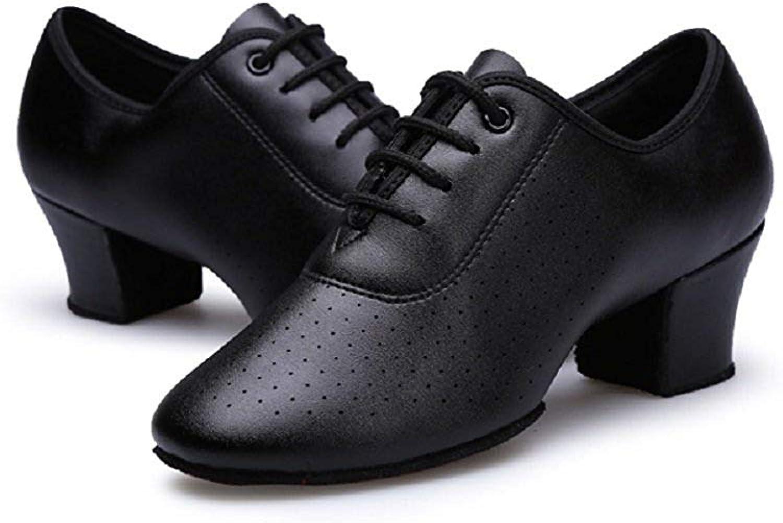 Gogodance Women Girls Professional Lace-up Black Leather Latin Salsa Tango Ballroom Modern Dance shoes (8.5 D(M) US)