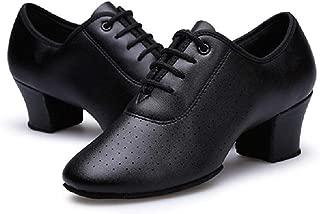 Gogodance Women Girls Professional Lace-up Black Leather Latin Salsa Tango Ballroom Modern Dance Shoes