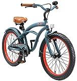 BIKESTAR Vélo Enfant pour Garcons et Filles de 6 Ans | Bicyclette Enfant 20 Pouces Cruiser avec Freins | Bleu