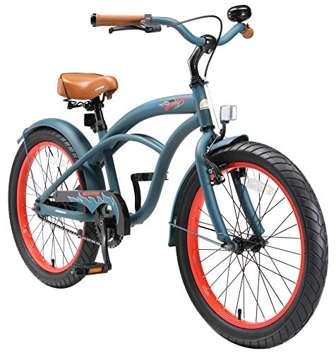 BIKESTAR Kinderfahrrad für Jungen ab 6-7 Jahre | 20 Zoll Kinderrad Cruiser | Fahrrad für Kinder Blau | Risikofrei Testen