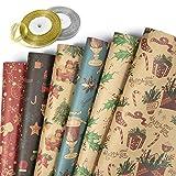 Jolintek Navidad Papel Kraft Papel de Regalo, 6 Hojas Papel para Envolver Regalos Diseño de Papel Kraft con 2 Rollo Cinta de Organza, Papel Embalar para Navidad, Cumpleaños, Fiesta, 70x50cm