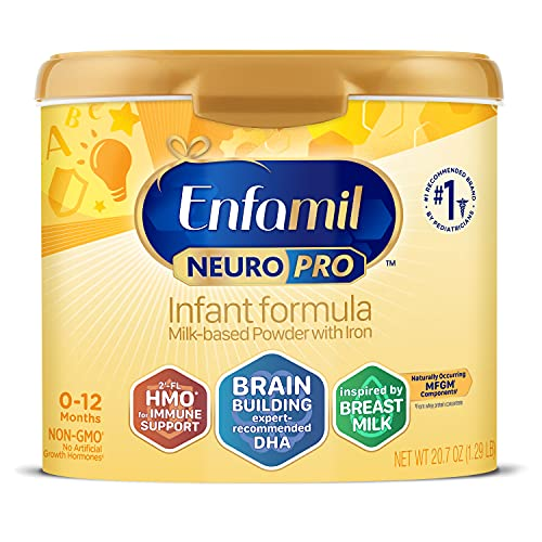 Enfamil NeuroPro Baby Formula, Triple Prebiotic Immune Blend with 2'FL HMO & Expert Recommended Omega-3 DHA, Inspired by Breast Milk, Non-GMO, Reusable Tub, 20.7 Oz (Packaging May Vary)