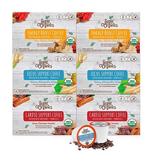 Super Organics Coffee Variety Pack Enhanced with Superfoods & Probiotics | Keurig K Cup Compatible | Cardio Support Coffee, Focus Coffee, Energy Coffee | USDA Certified Organic, Vegan, Non-GMO, 72ct