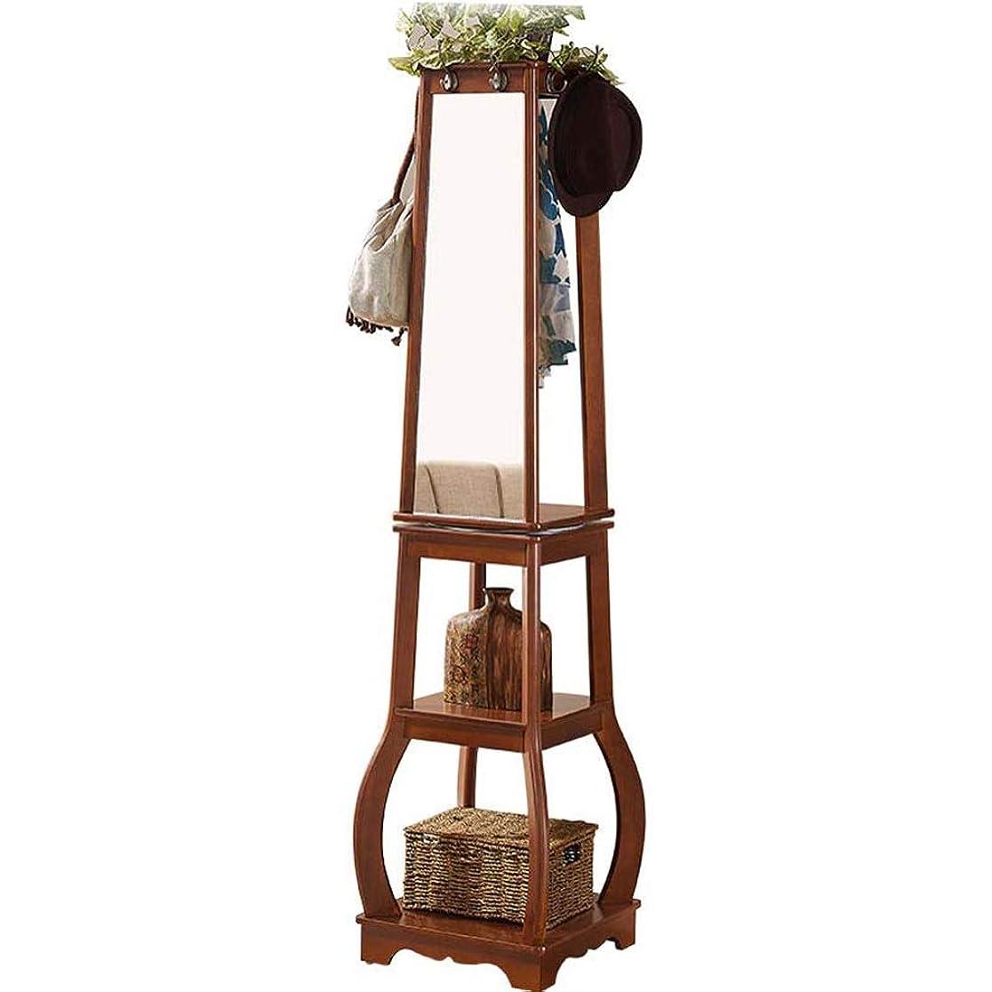 量で困惑したゴシップハンガー, 無垢材のランディング3層の棚寝室ハンギング服化粧鏡を回転させ TINGTING-ハンガーラック (Color : Brown, Size : 41*41*168.5cm)