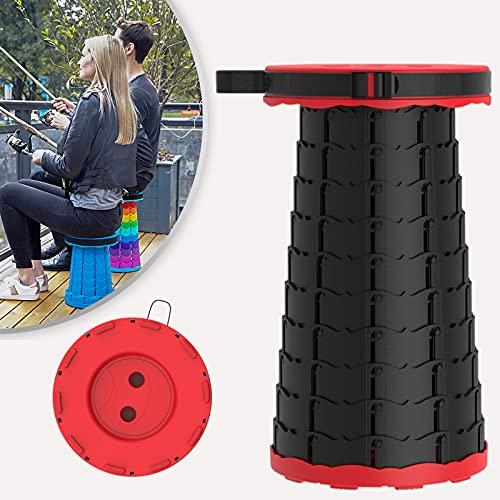 Klapphocker Tragbarer Outdoor Camping Hocker Teleskophocker leicht, stabil und höhenverstellbar Sitzhocker (Schwarz/Rot)…