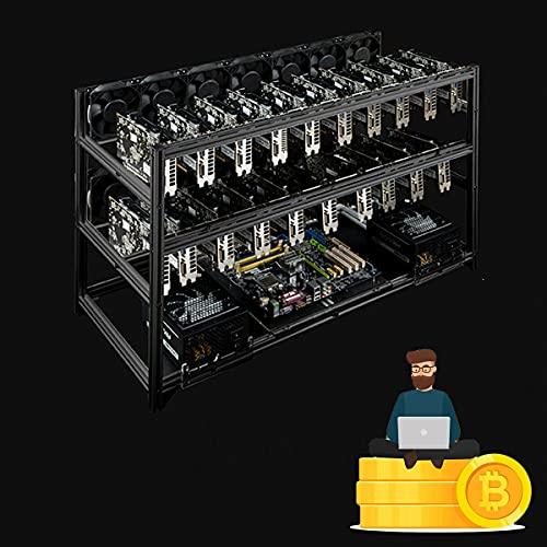 YCRD Bitcoin Frame Aluminium-Bergbaumaschine, professionelle Oberflächenbergbau-Maschinen-Aluminiumbox, Grafikkarten-Isolierung zum Tragen von Kryptowährung, nur Minen-Rack