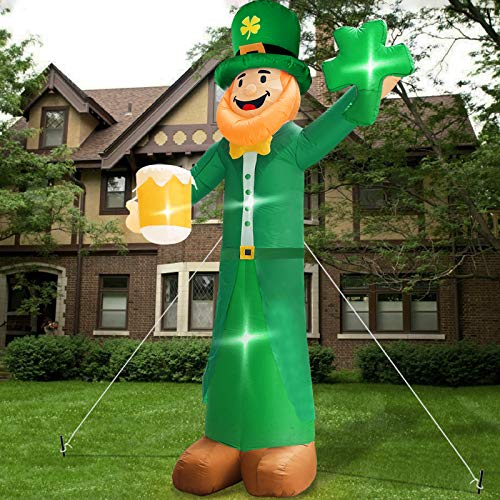 TURNMEON 12 Foot Giant St.Patricks Day Inflatables Outdoor Decorations Blow up Leprechaun Hold Shamrocks Beer Led Lights Tether Stakes St. Patricks Decorations Yard Lawn Garden Home Party Indoor Decor