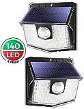 Luci Solari LED Esterno, 140 LED Luce Solare Sensore con Movimento Esterna 3 Modalità di ...