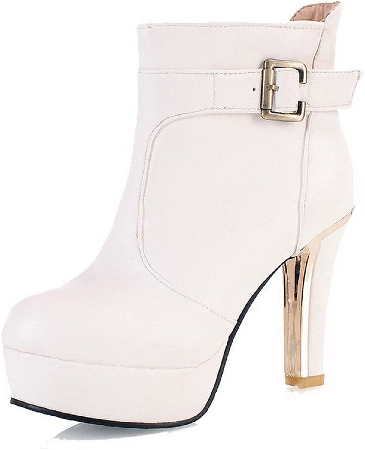 WeenFashion Women's Low-Top Solid Pull-On Round Closed Toe High Heels Boots