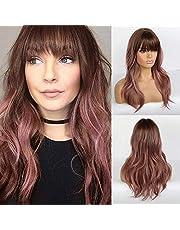 GPWDSN Ny naturlig aska rosa peruk med brun mörk rot charmig lång lös våg syntetisk peruk med lugg värmebeständig hår ersättning för kvinnor halloween kostym fest daglig användning