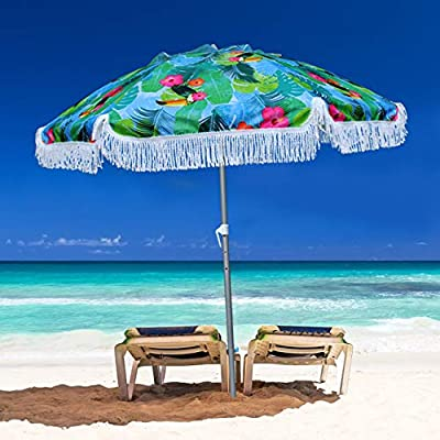 AMMSUN 2018 6.5ft Outdoor Patio Beach Umbrella Sun Shelter with Air Vent Carry Bag Double Face Printing fabric with Banana Leaf Tropical Inside with Flaps and Zinc Tilt