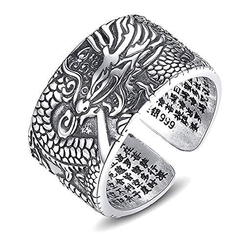 Plata de ley 999 Anillos ajustable Hombre budista El sutra del corazón Tallar el dragón San valentin Amor Love Pareja Promesa Compromiso Alianzas Boda Hombre mejor regalo