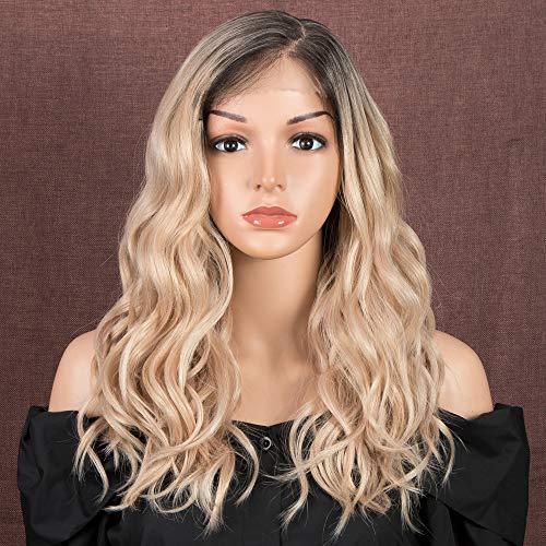 """Style Icon Lace-Front-Perücke für weiße Frauen, 45,7 cm, Ombré-Stil, blonde braune Wurzeln, hitzebeständige Kunstfaser-Perücke, natürliches Haar, Perücke mit großer Fläche """"L"""" Mono-Lace-Spitze"""