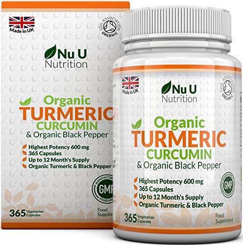 Curcuma Bio 600mg avec Poivre Noir Biologique - 365 Curcumine de Curcuma Capsules (Approvisionnement pour 1 An) - Puissance Maximale 600mg - Fabriqué en Grande Bretagne par Nu U Nutrition