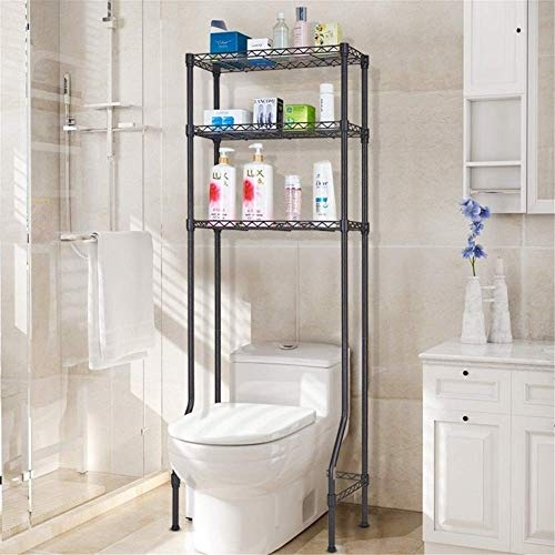 LHQ-HQ 3-Shelf Bathroom Organizer Over The Toilet Storage Rack Adjustable Bathroom Space Saver Organization Home Organiser (Color : Coffee, Size : 55 x 30 x 150cm)