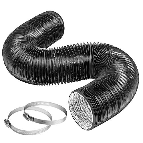 VIVOSUN 6 Inch 8 Feet Black Non-Insulated Flex Air Aluminum Ducting for Ventilation w/ 2pcs 6 Inch Stainless Steel Clamps