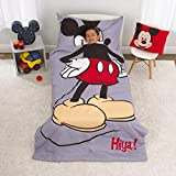 Disney Mickey Mouse - Grey, Red, Yellow & Black 4Piece Toddler Bed Set with Comforter, Fitted Bottom Sheet, Flat Top Sheet & Standard Size Pillowcase, Grey, Red, Yellow, Black
