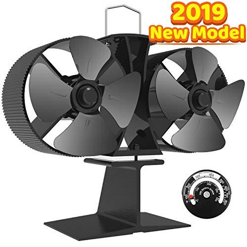 Ventilador de estufa de leña con calor Eco Fan, ventilador de estufa de leña ultra silencioso para distribución eficiente del calor de estufa, accesorios de chimenea (8 cuchillas) [A+++]