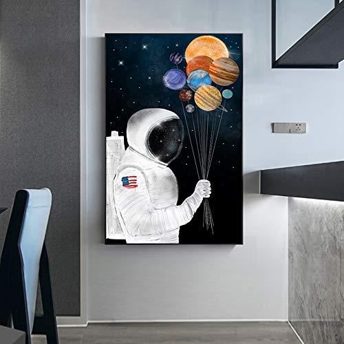 Ballon canvas muurkunst planeet kamer astronaut drukposter Scandinavisch dier vos muur woonkamer afbeelding zonder lijstwerk 60x80 cm