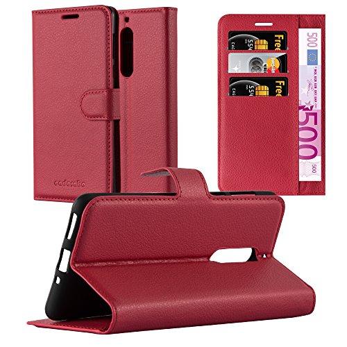 Cadorabo Hülle für Nokia 5-2017 - Hülle in Karmin ROT – Handyhülle mit Kartenfach & Standfunktion - Hülle Cover Schutzhülle Etui Tasche Book Klapp Style