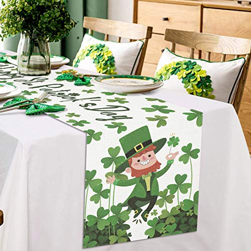 ARTSHOWING Happy St. Patrick's Day Table Runner Party Supplies Fabric Decorations for Wedding Birthday Baby Shower 13x90inch Happy Leprechaun Dancing with Lucky Shamrocks Leaves
