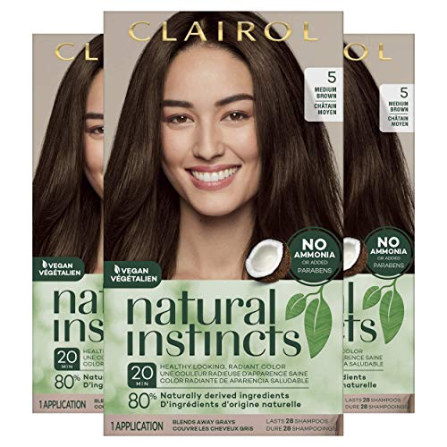 Clairol Natural Instincts Semi-Permanent Ammonia-Free Hair Color, 5 Medium Brown, Hazelnut, Pack of 3
