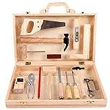 MAJOZ Caja de herramientas 36,5 x 22 x 7,5 cm, juego de herramientas de madera, incluye herramientas, tornillos y elementos de construcción, 17 unidades