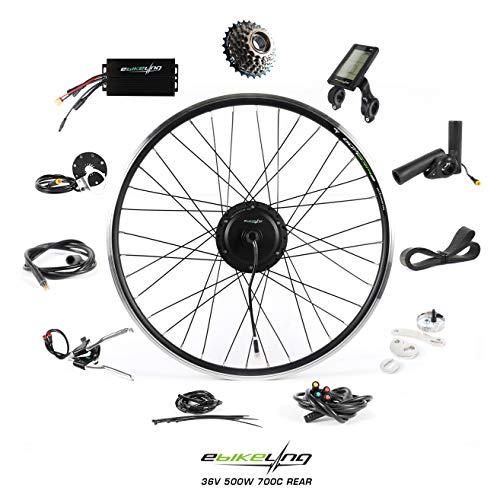 EBIKELING 36V 500W 700C Geared Waterproof Electric Bike Kit - Ebike Conversion Kit - Electric Bike Conversion Kit (Rear/LCD/Thumb)