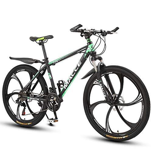 26 Zoll Mountainbike, Scheibenbremsen Hardtail MTB, Trekkingrad Herren Bike Mädchen-Fahrrad, Vollfederung Mountain Bike, 27 Speed,Grün,six cutter wheel