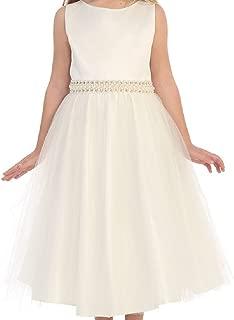 Little Girls Sleeveless Silk Shantung Pearl Flowers Girls Dresses