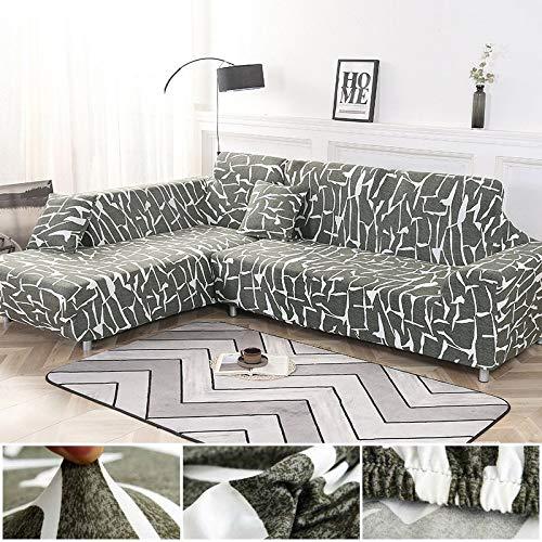 Juego de Fundas geométricas para sofás, Fundas para sofás, Fundas elásticas para sofás para Sala de Estar, aptas para esquinero Chaise Longue, sofá A4 de 4 plazas