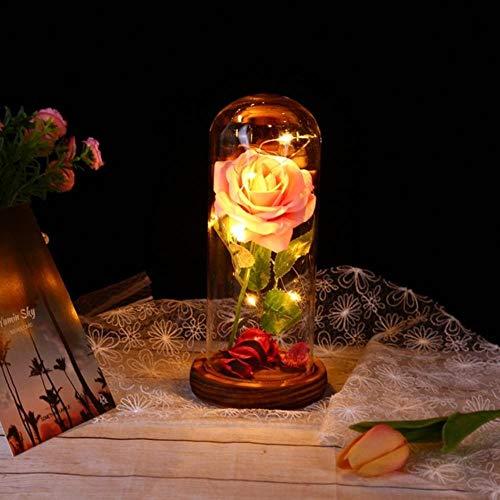 Belle en het beest Rode roos in een glazen koepel met LED-licht en basis voor Valentijnsdag Moederdaggeschenken Gratis schip, H, Frankrijk