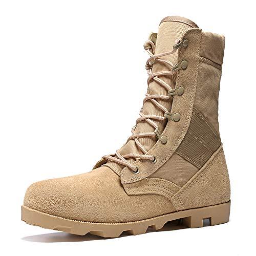 Shoes Outdoor-Arbeitsstiefel für Herren, atmungsaktive Lange Wüstenkampfstiefel, kollisionssichere Motorradreitschuhe, große Kampfsicherheitsschuhe aus Leder 39-45