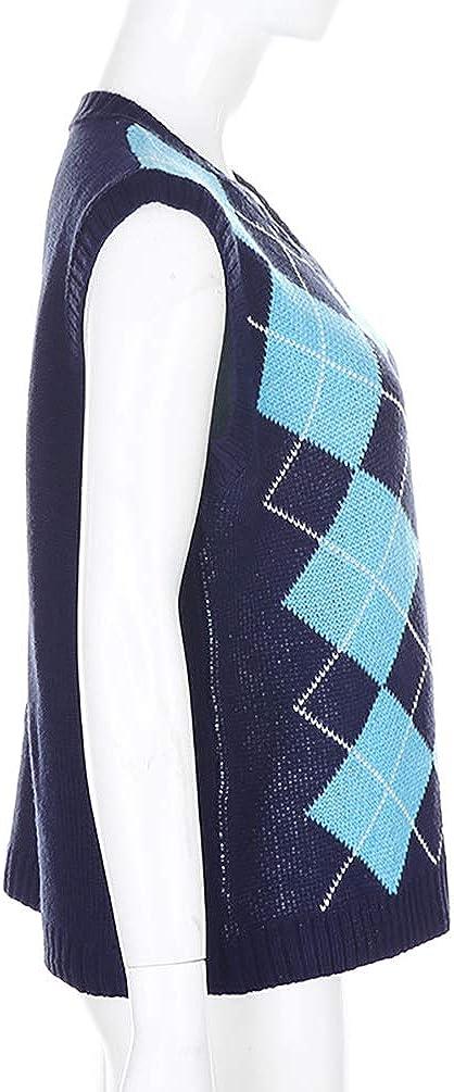 Meladyan Women/'s Argyle Geo Plaid Knitted Sweater Vest V Neck 90s E-Girls Preppy England Style Knitwear Tank Tops