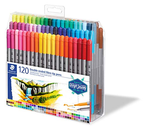 Staedtler Feutres à double pointe pour écriture et coloriage, Pointe fine de 0.5-0.8 mm et pointe compacte extra-large de 3 mm, Étui plastique avec 120 couleurs lumineuses différentes, 3200 TB120